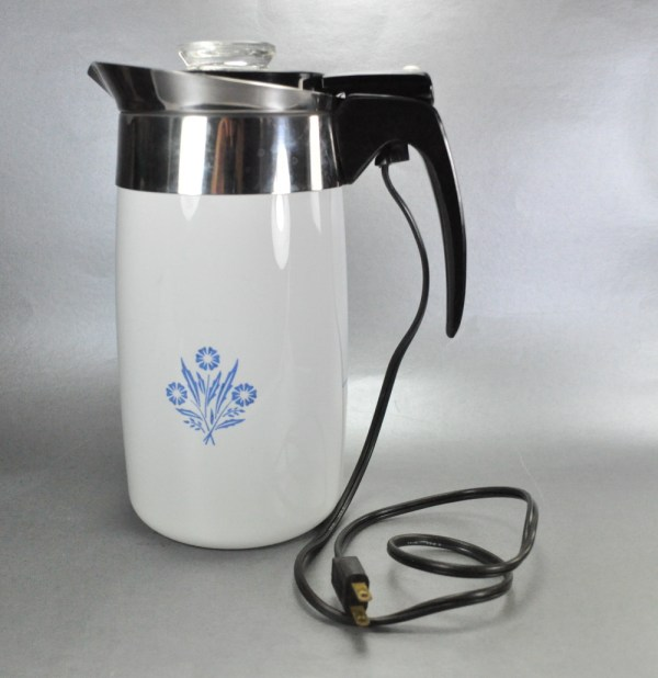 Blue Corning Ware Electric Percolator
