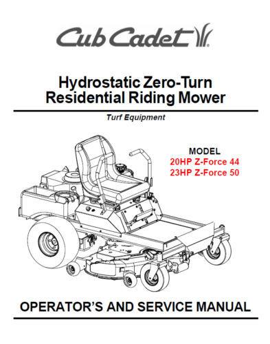 Cub Cadet Zero Turn Z-Force 44 50 Service Parts Manuals