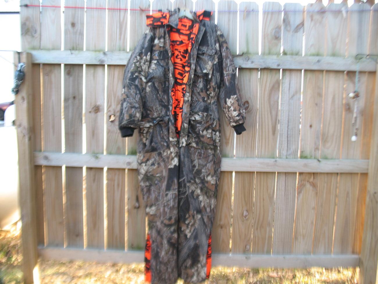 Bushmaster Camo Blaze Orange Hunting Coveralls Insulated