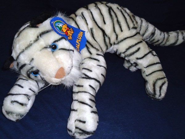 Calplush White Tiger Realistic Plush Stuffed Animal Toy
