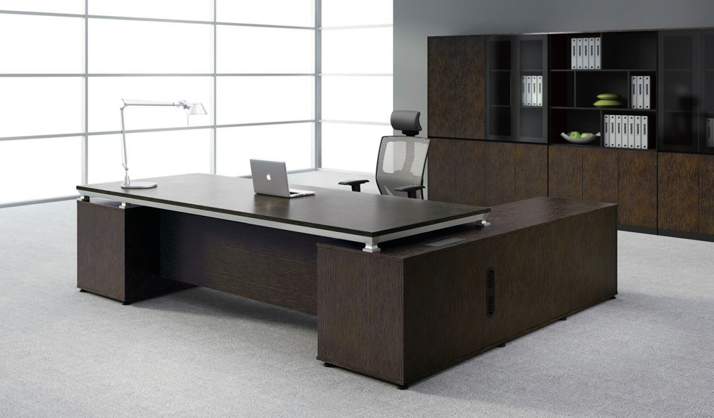 Modern Sirius Office Table With Side Cabinet: Boss's Cabin