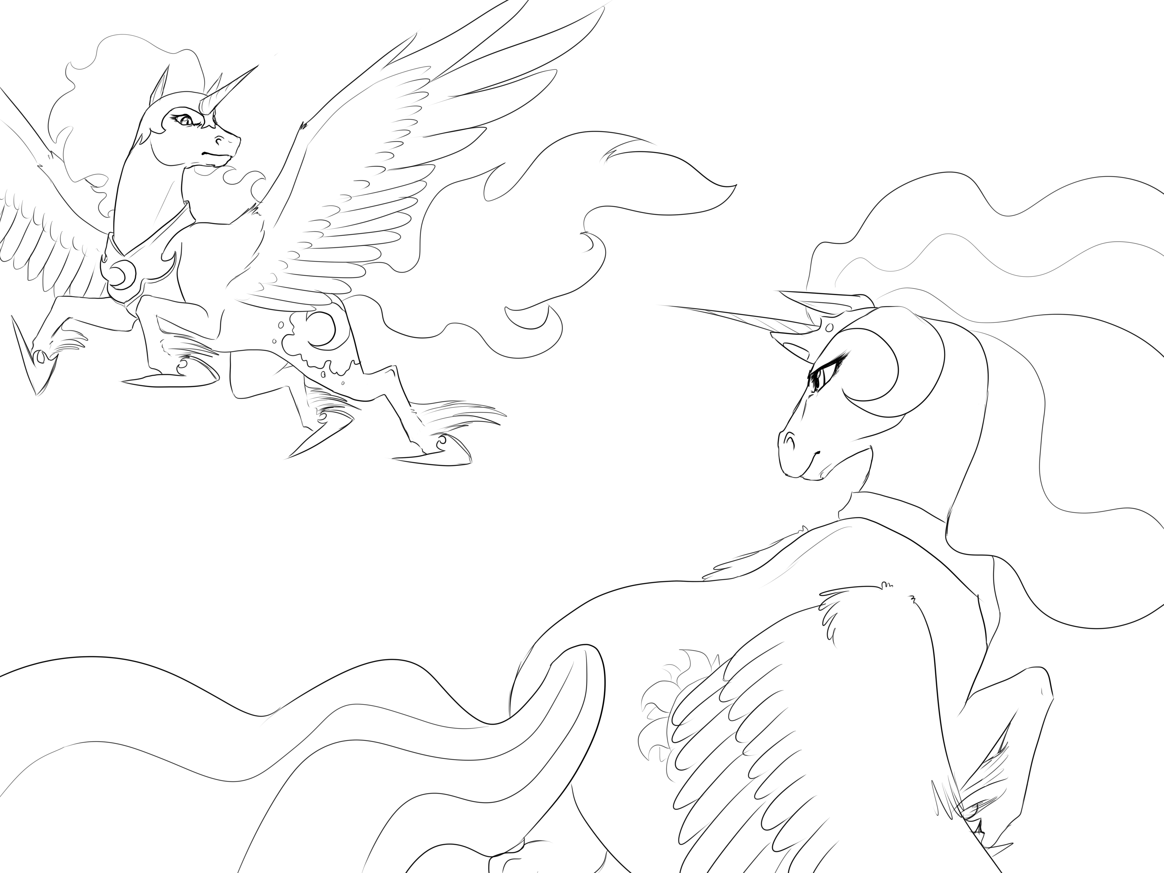 nightmare moon and princess celestia drawn by biscuits
