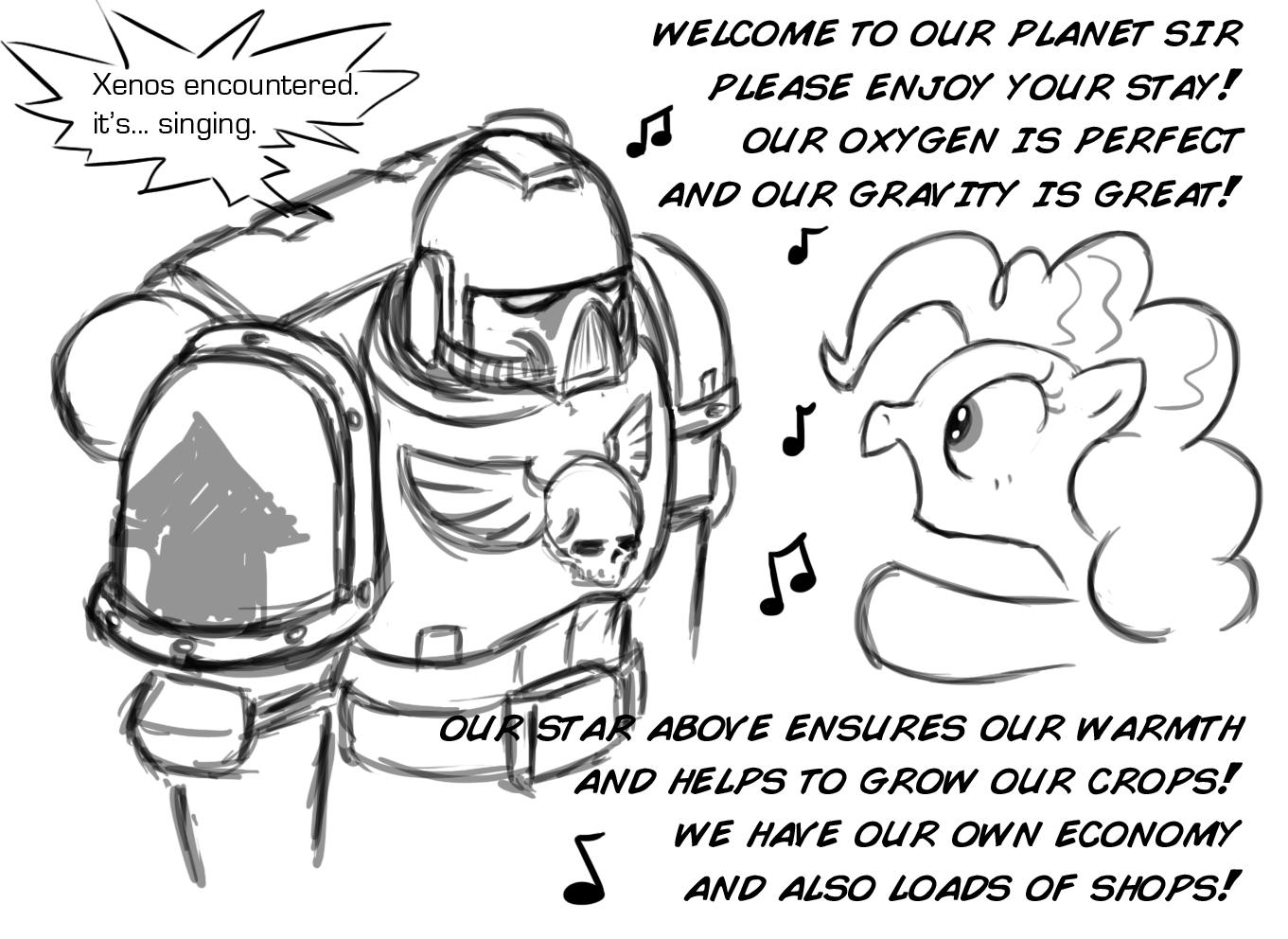 pinkie pie and space marine (warhammer 40k) drawn by