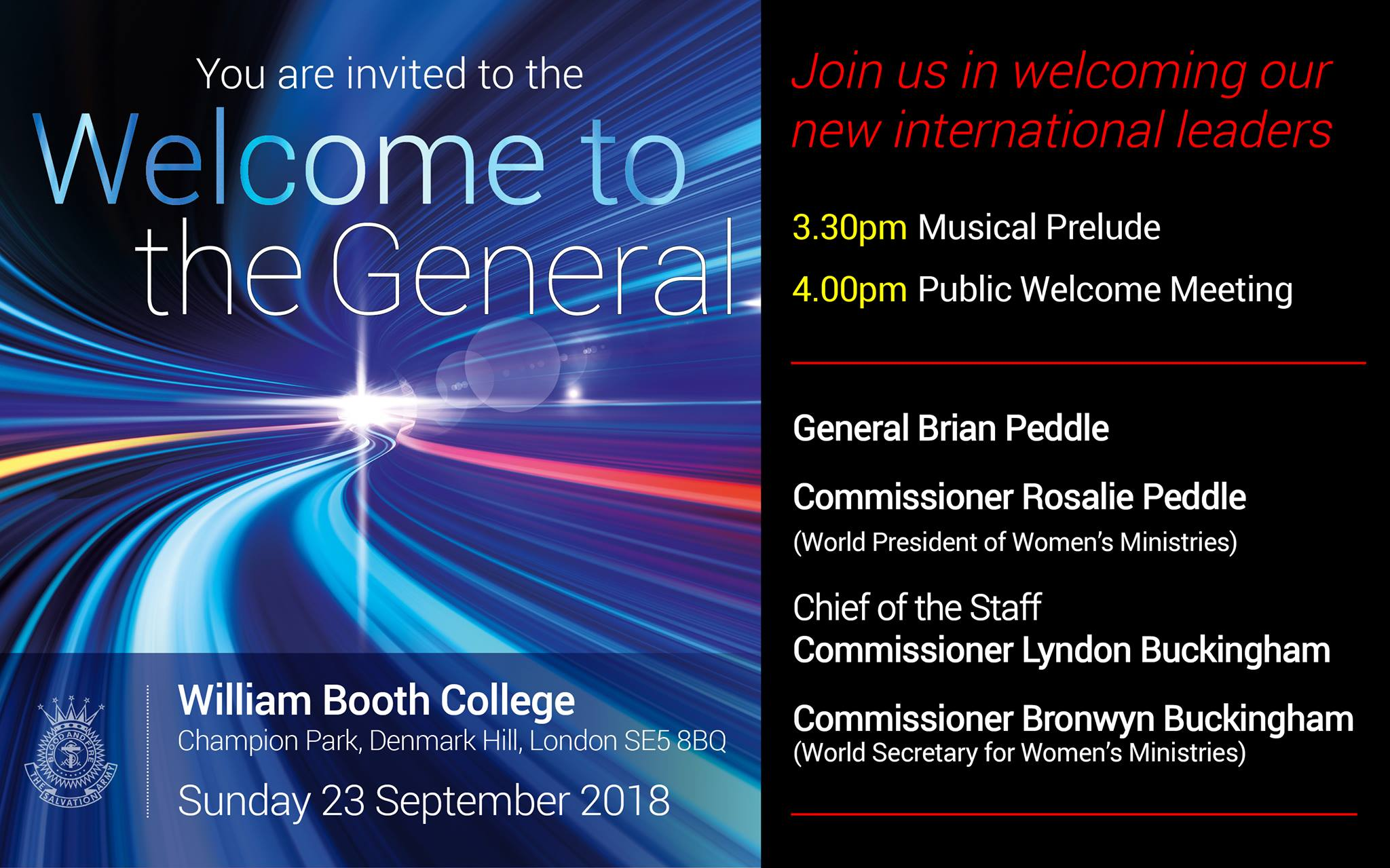 The Salvation Army International  Official Welcome to General Brian Peddle to take place on