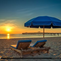 Beach Chairs And Umbrella Swing Chair Furniture At Lake Worth Pier