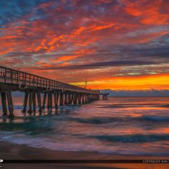 Fishing Chair Amazon Cover Vendors Pompano Beach Pier Sunrise With Amazing Sky Colors