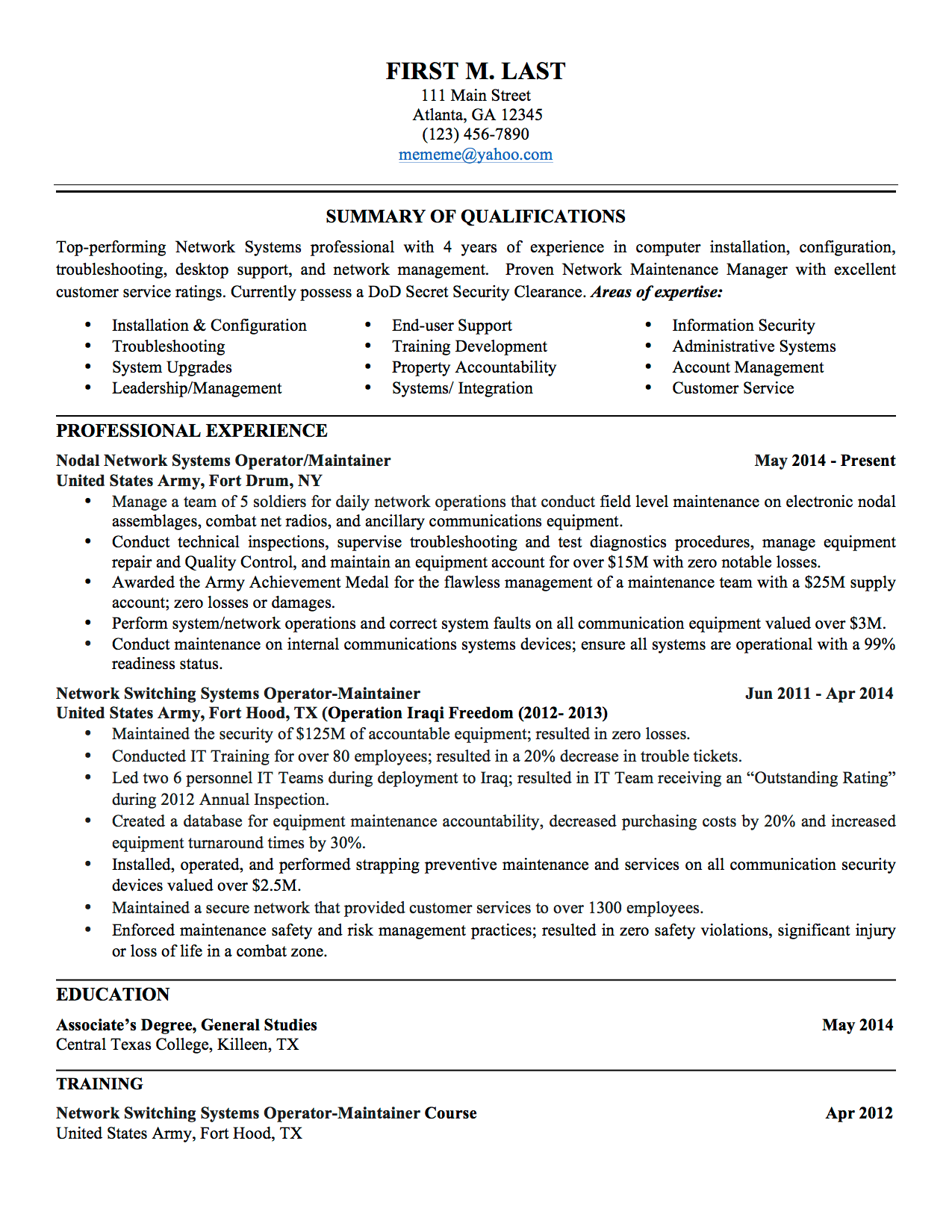 Army Resume Example