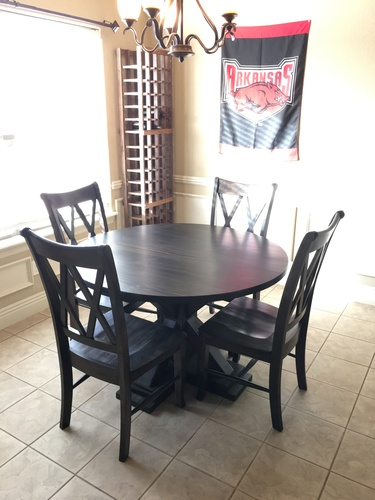 double x back chairs marine captain dining chair james furniture springdale wood stained midnight pictured with a round