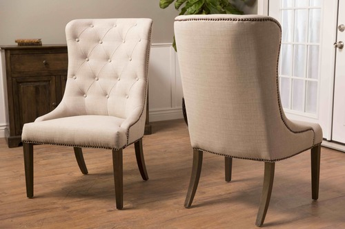 upholstered chair with nailhead trim high back covers natural linen elouise dining james
