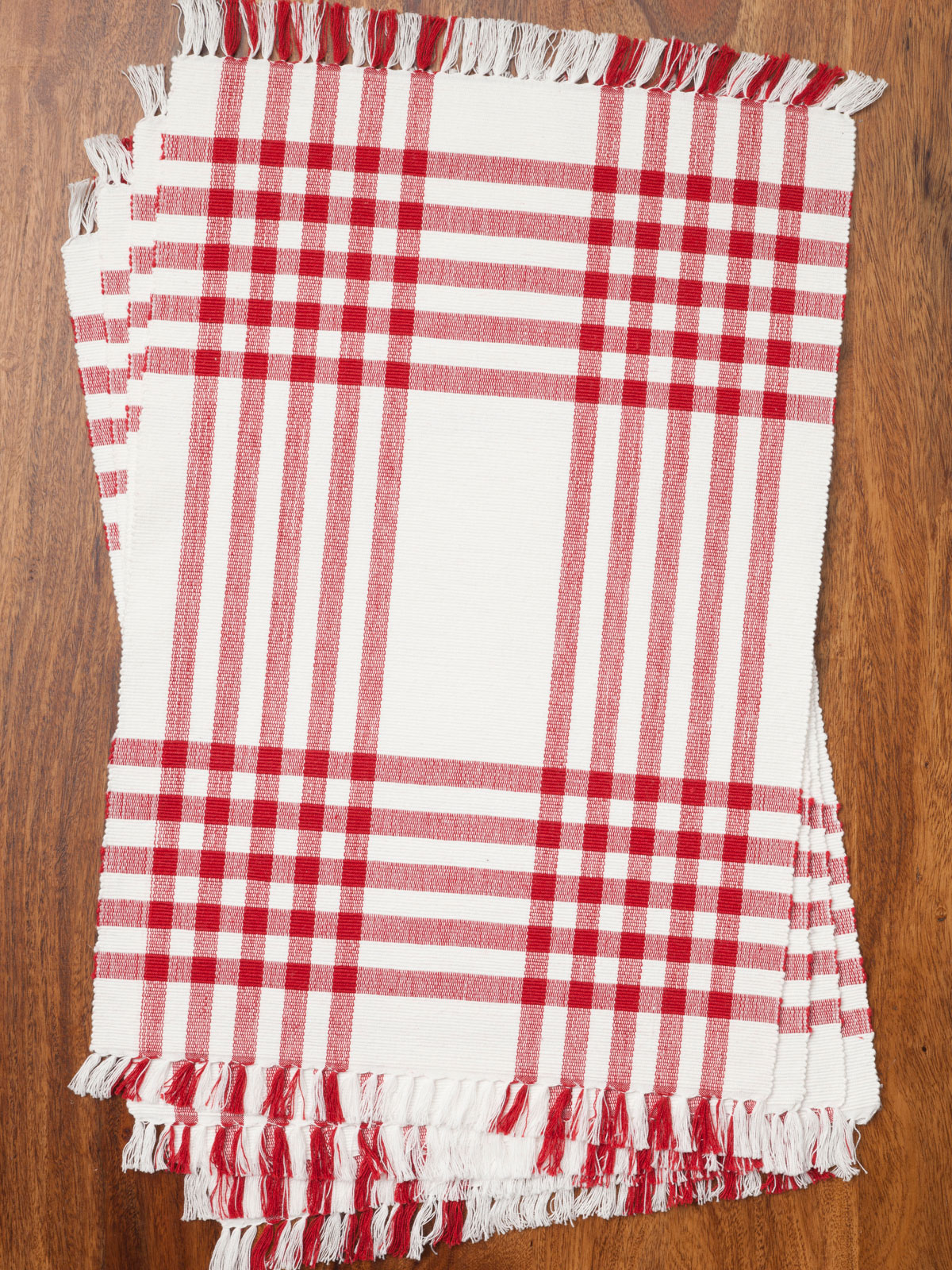 kitchen cotton yarn sears tables happy picnic gingham rib placemat set/4 - red | april's ...