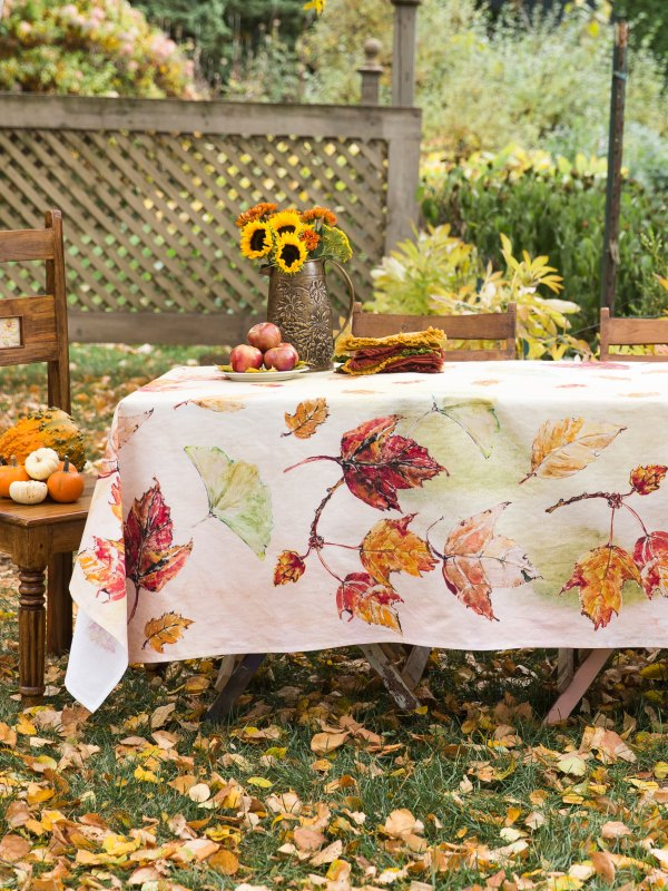 Autumn Tablecloth Leaves