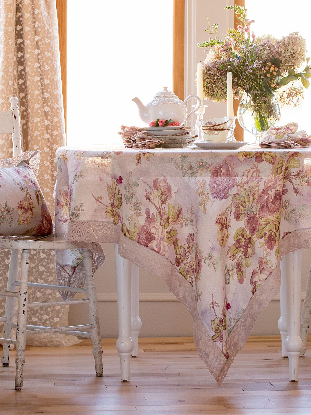 Victorian Rose Linen Tablecloth  Linens  Kitchen