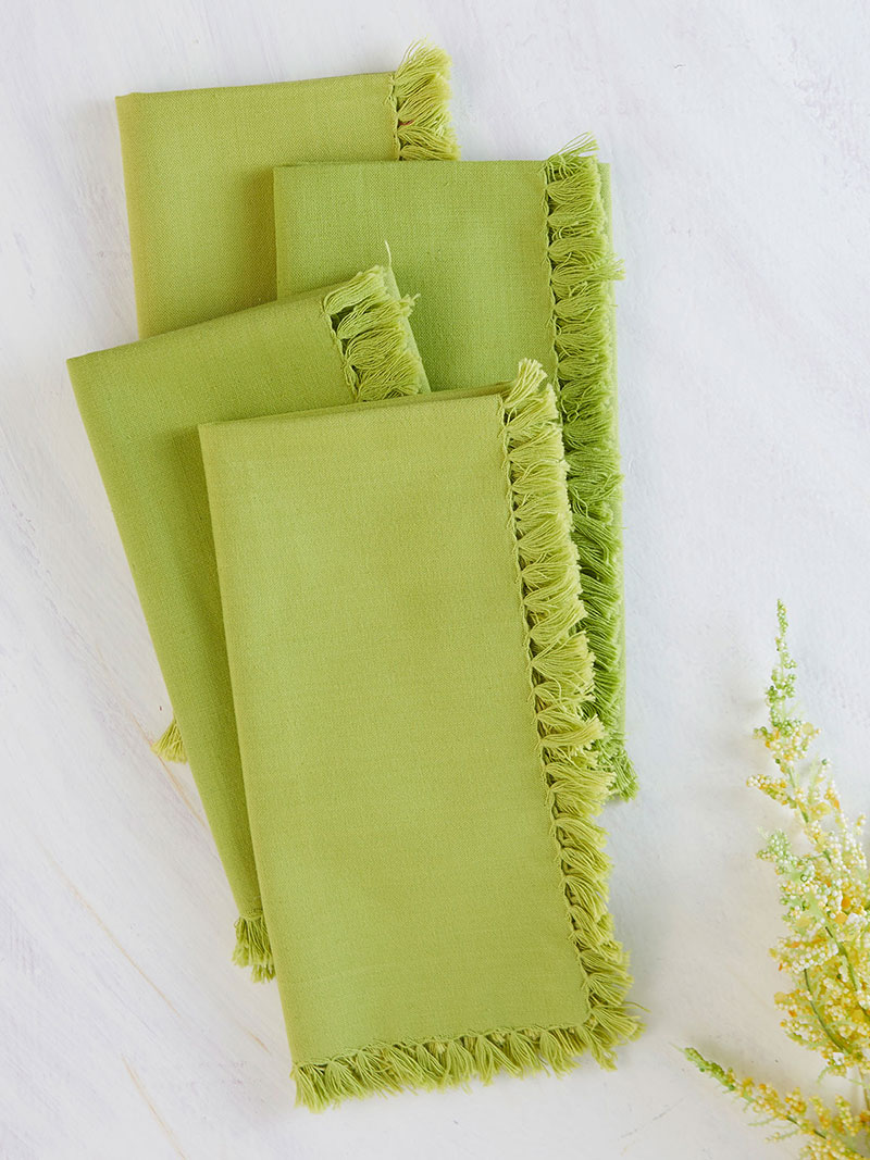 kitchen napkins yellow rug essential napkin set of 4 light green linens beautiful designs by april cornell