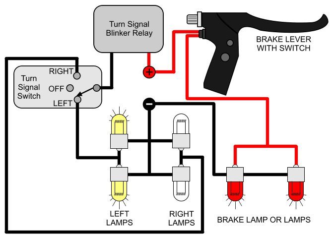 wiring diagram for flasher relay 12 volt boats installing turn signals electricscooterparts com support if you are looking a circuit where the and brake lights share same two bulbs then please let me know i will see can figure