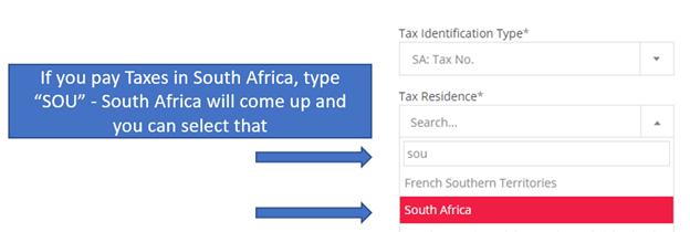 Tax Residence : EasyEquities