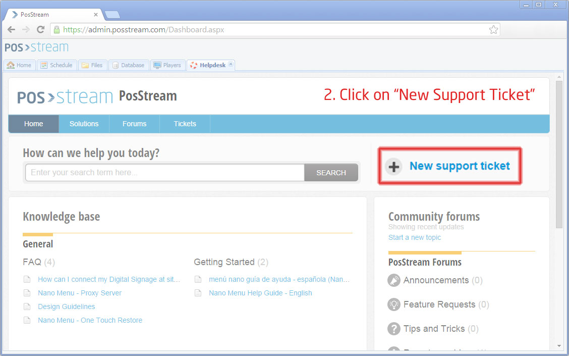 How to create a Support ticket : PosStream