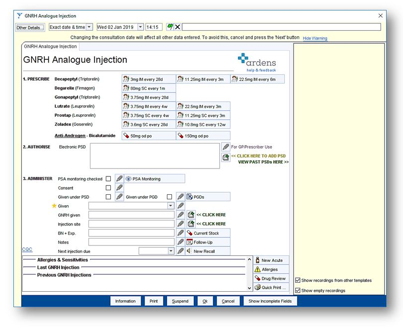 GNRH Analogue Injection : Ardens Healthcare Informatics