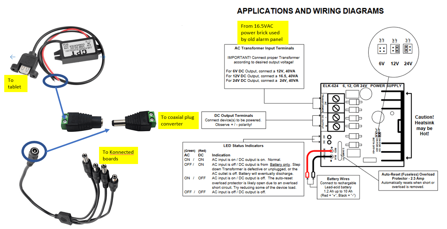 small resolution of the connection from the elk power supply to the 12v to usb converter is via the 4 wires in the wall used for the old alarm system keypad
