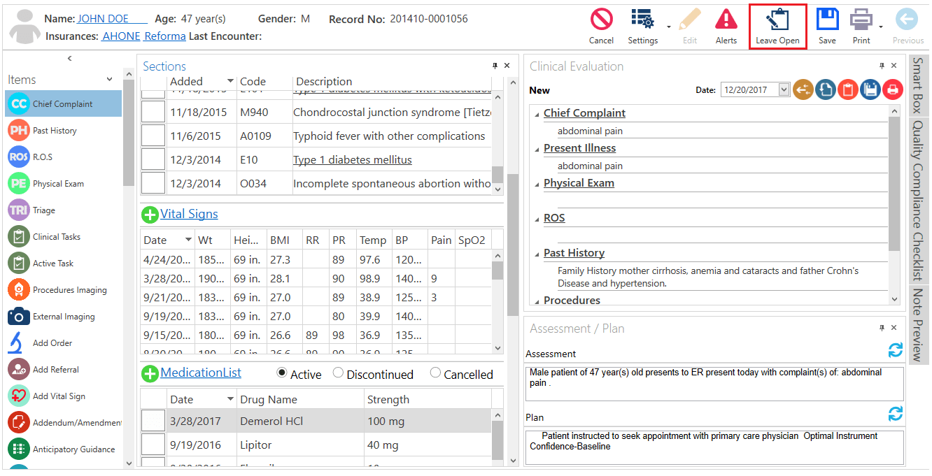 How To Leave An Open Progress Note From The Advanced Progress Note Screen?