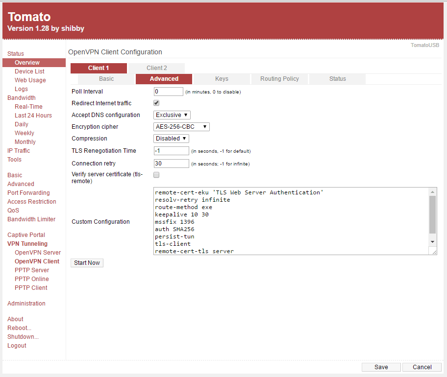 OpenVPN SSL setup on Tomato (Shibby) VPN routers : Global Network Services Ltd
