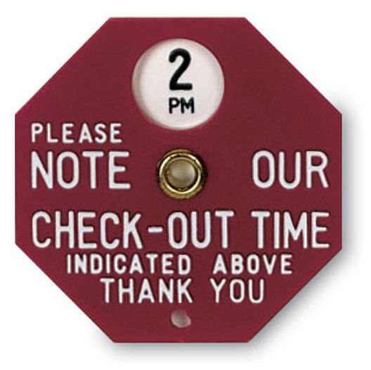 Checkout Time Indicators, Engraved Inroom Message Signs