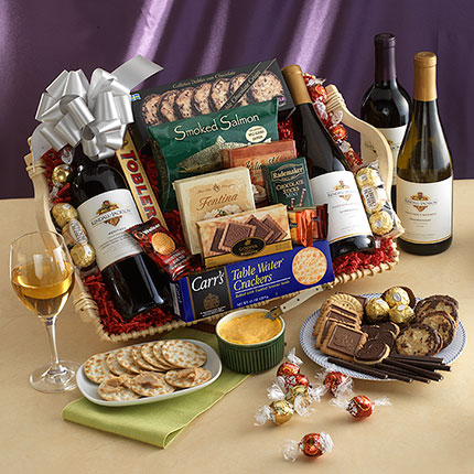 sympathy gifts wine cheese