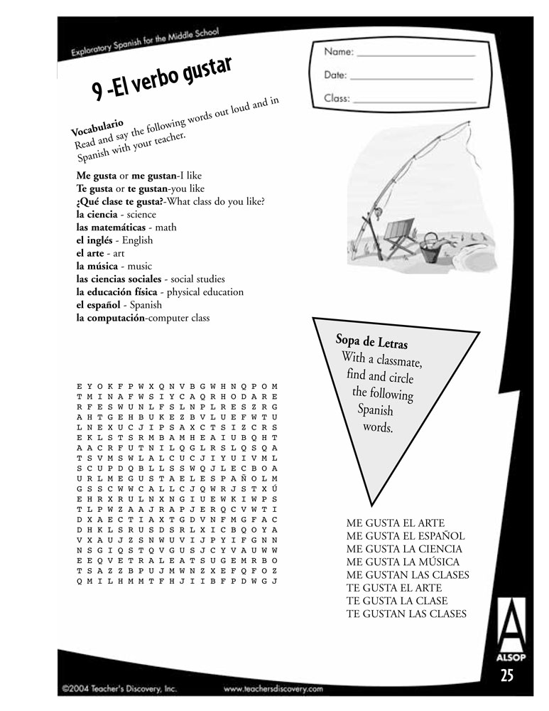Exploratory Spanish for Middle School Book, Activity Books