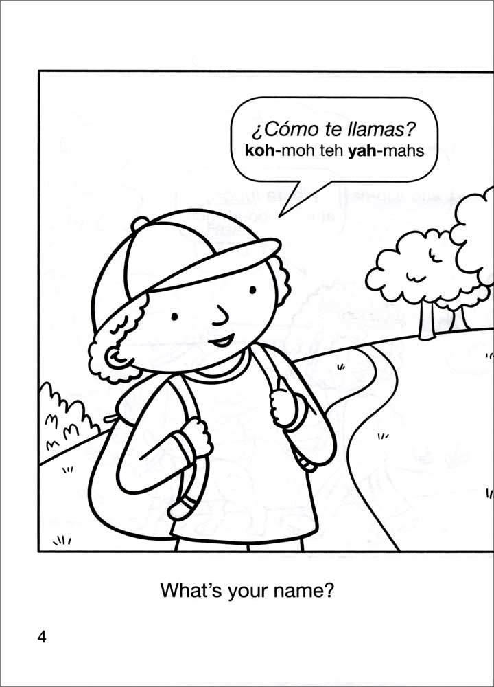 Color and Learn Easy Spanish Phrases for Kids Coloring