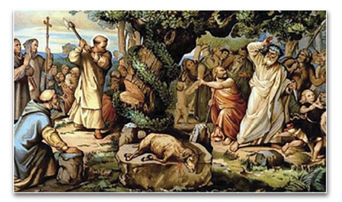 San Bonifacio tala el roble sagrado – Litografía de Heinrich Maria Von Hess