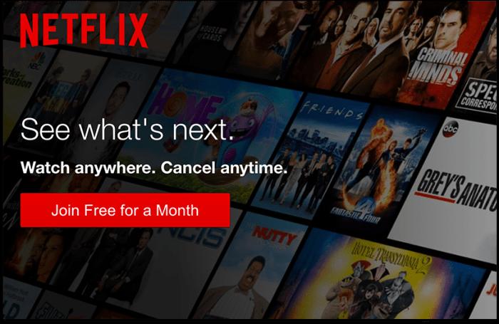 переходы на страницу Netflix