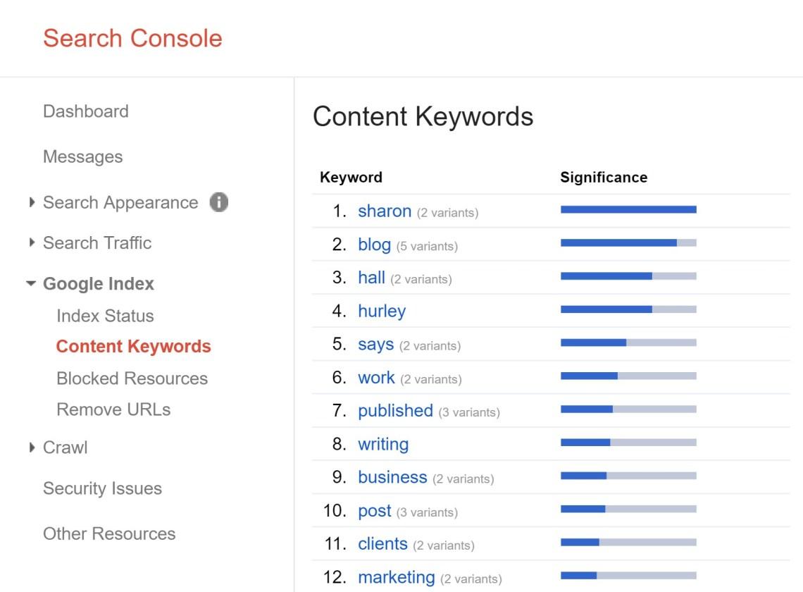 google搜索控制台內容關鍵字
