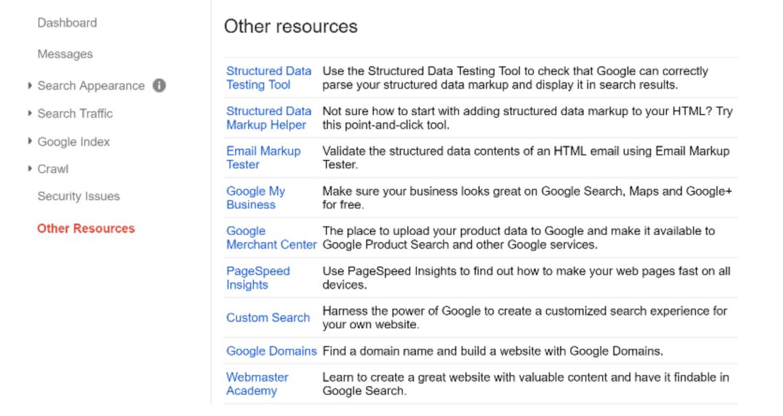 谷歌搜索控制台資源