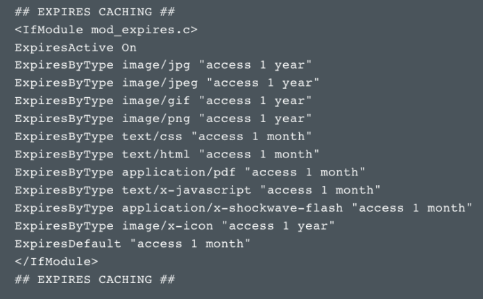 speed up your website caching htaccess