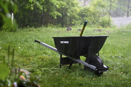 wheelbarrow in rain