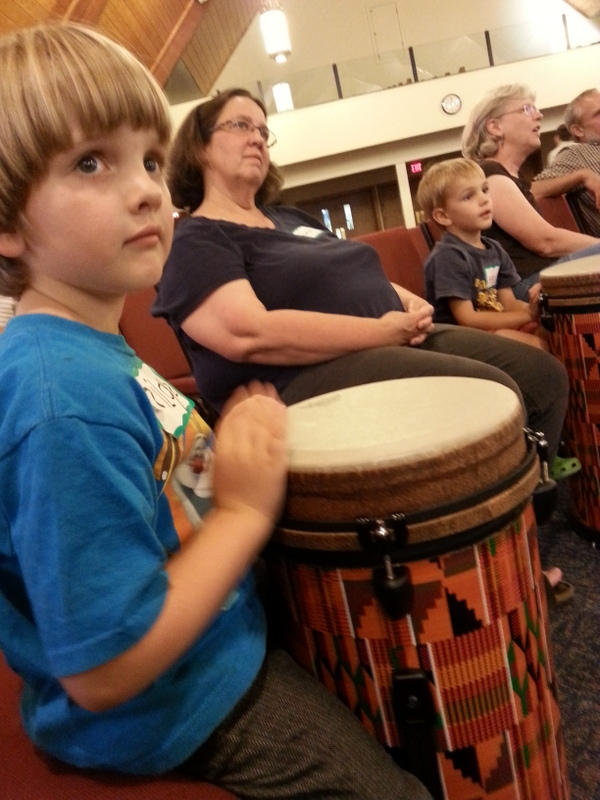 World music class: Such concentration, listening to the leader of the VBS drum circle.