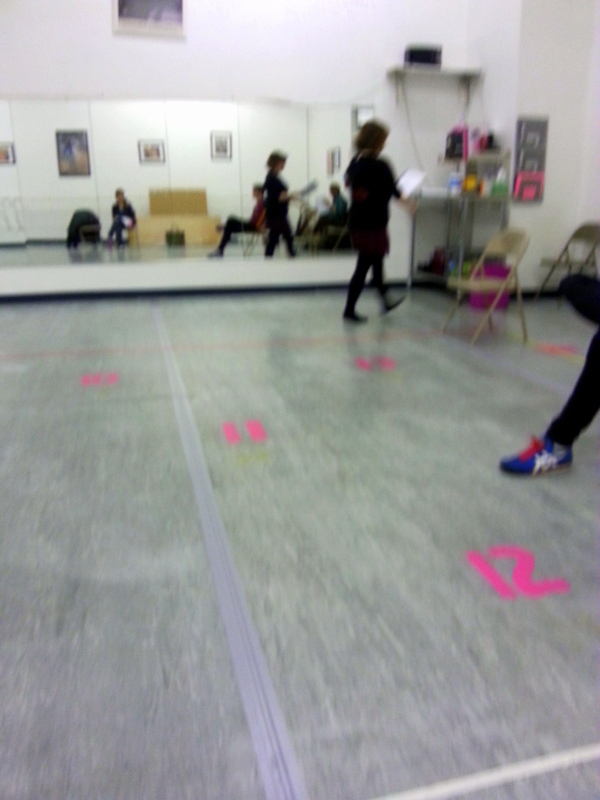 Rehearsal at the dance studio. The numbers on the floor were very helpful.