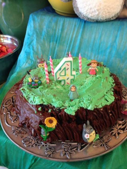 Cake...kind of a Pinterest fail (it's supposed to be a tree with little Totoro guys in it). It was yummy, anyway!