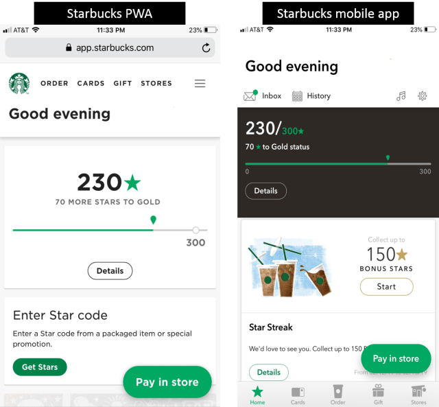Screenshot example of how Starbucks used a progressive web app