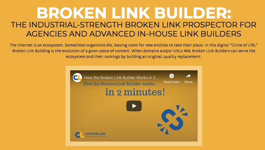 Screenshot of Broken Link Builder