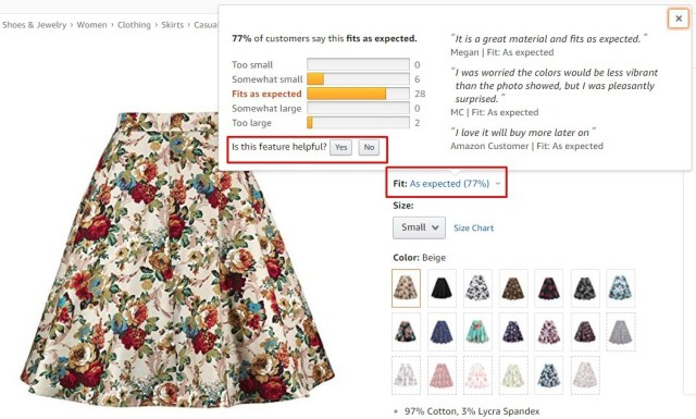 Screenshot example of showing buyer preferences for products
