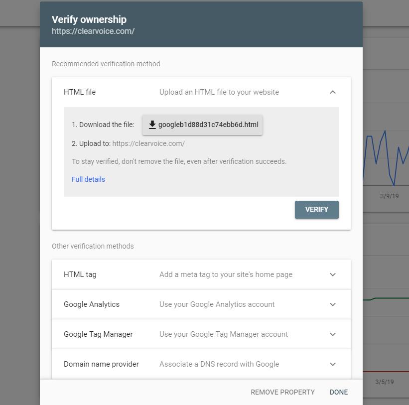 Screenshot of Google verifying site ownership