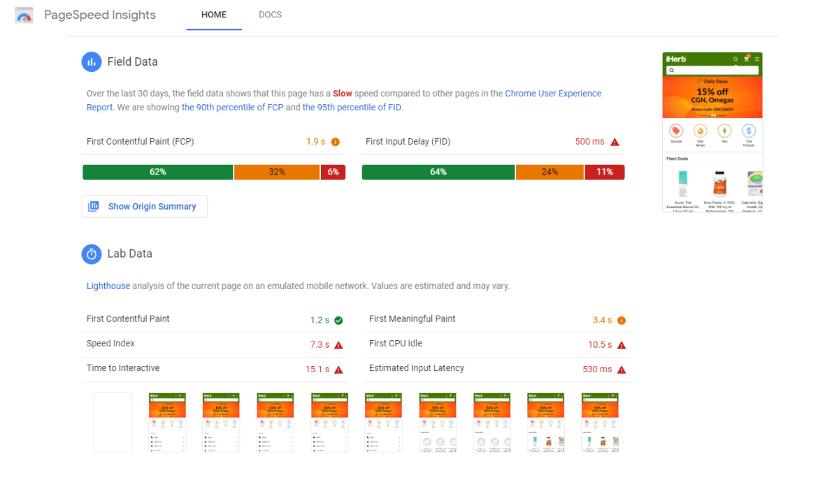 Screenshot of PageSpeed Insights dashboard
