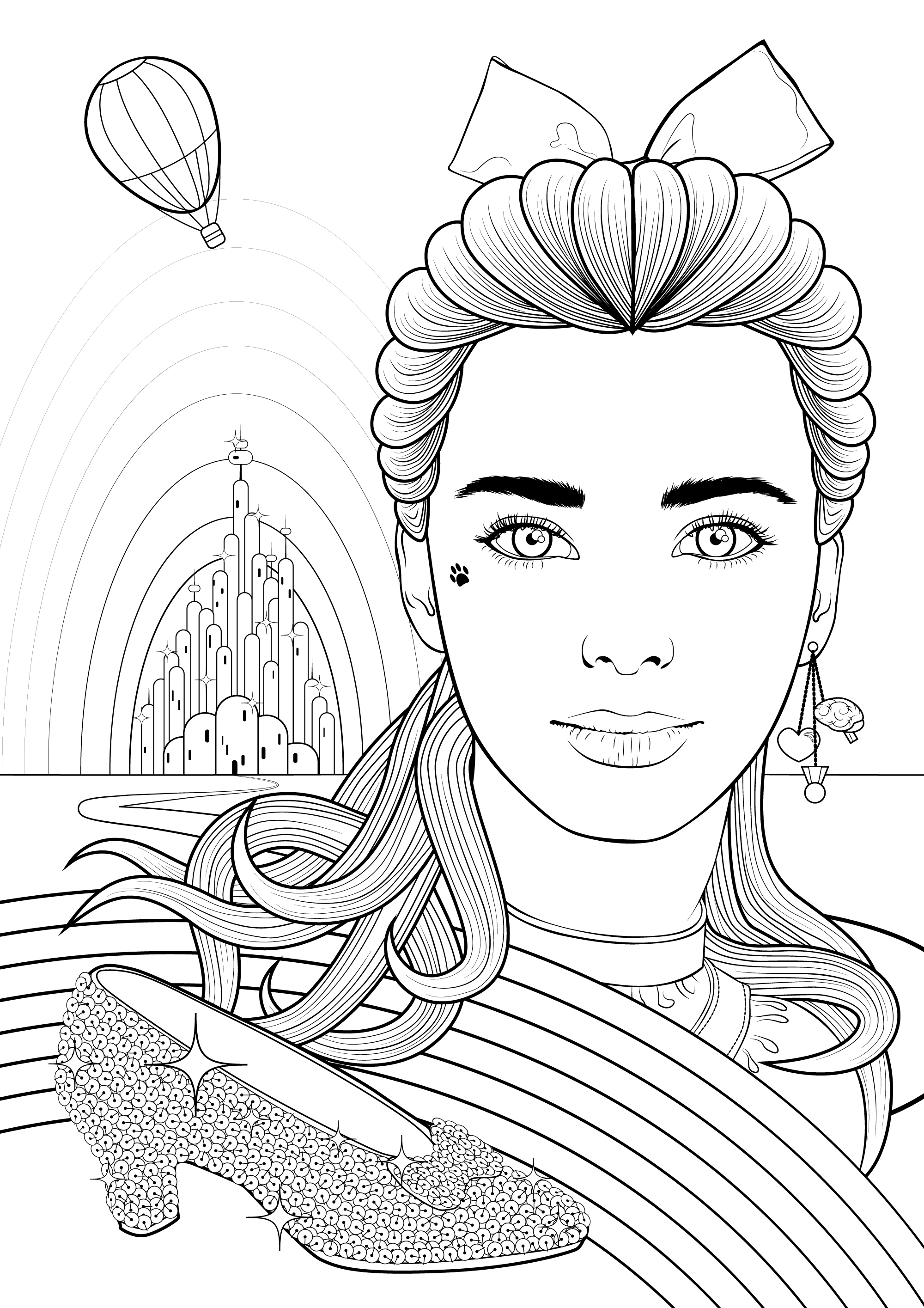 Create a Colouring Book Style Illustration of Dorothy Gale