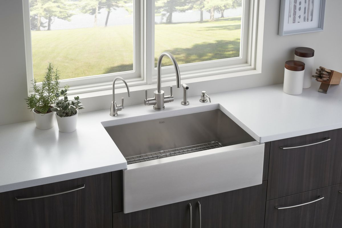 rohl kitchen sinks peerless faucet file faucets fixtures pressroom single bowl apron front stainless steel sink