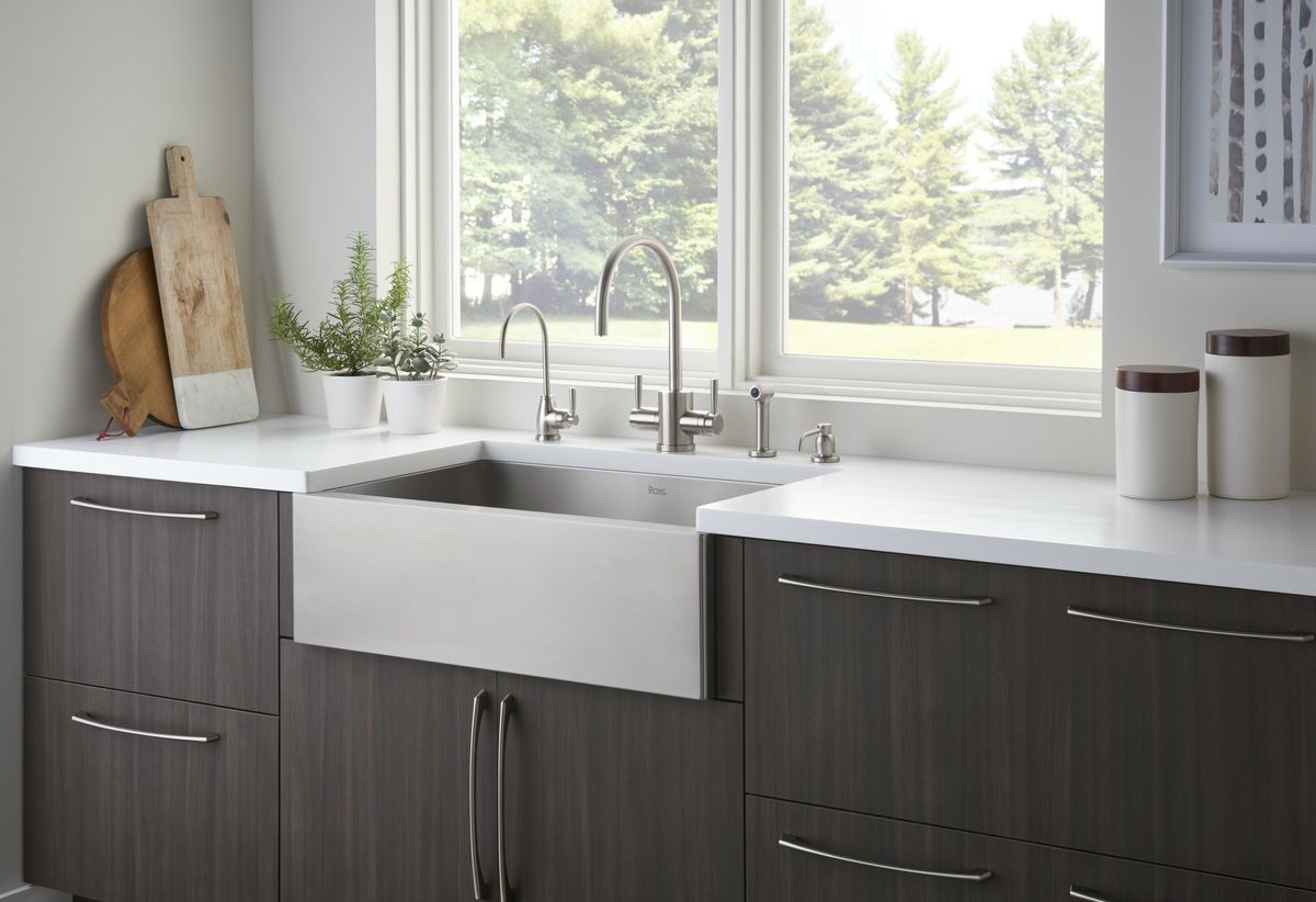 rohl kitchen sinks cushioned mat gallery faucets fixtures pressroom perrin rowe contemporary faucet and stainless steel apron front sink