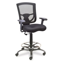 Chair Mesh Stool Exercise Ball As Desk Back Task With Adjustable Arms Upholstered Seat Footring And Black Base