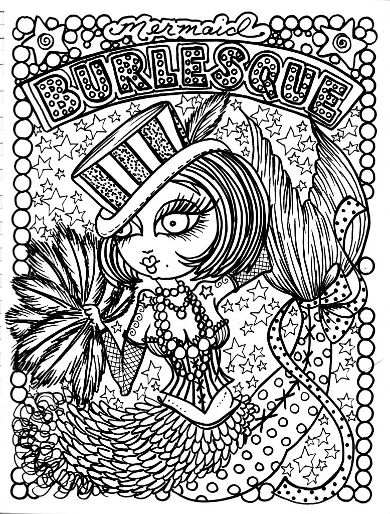 burlesque mermaid coloring book - Mermaid Coloring Book