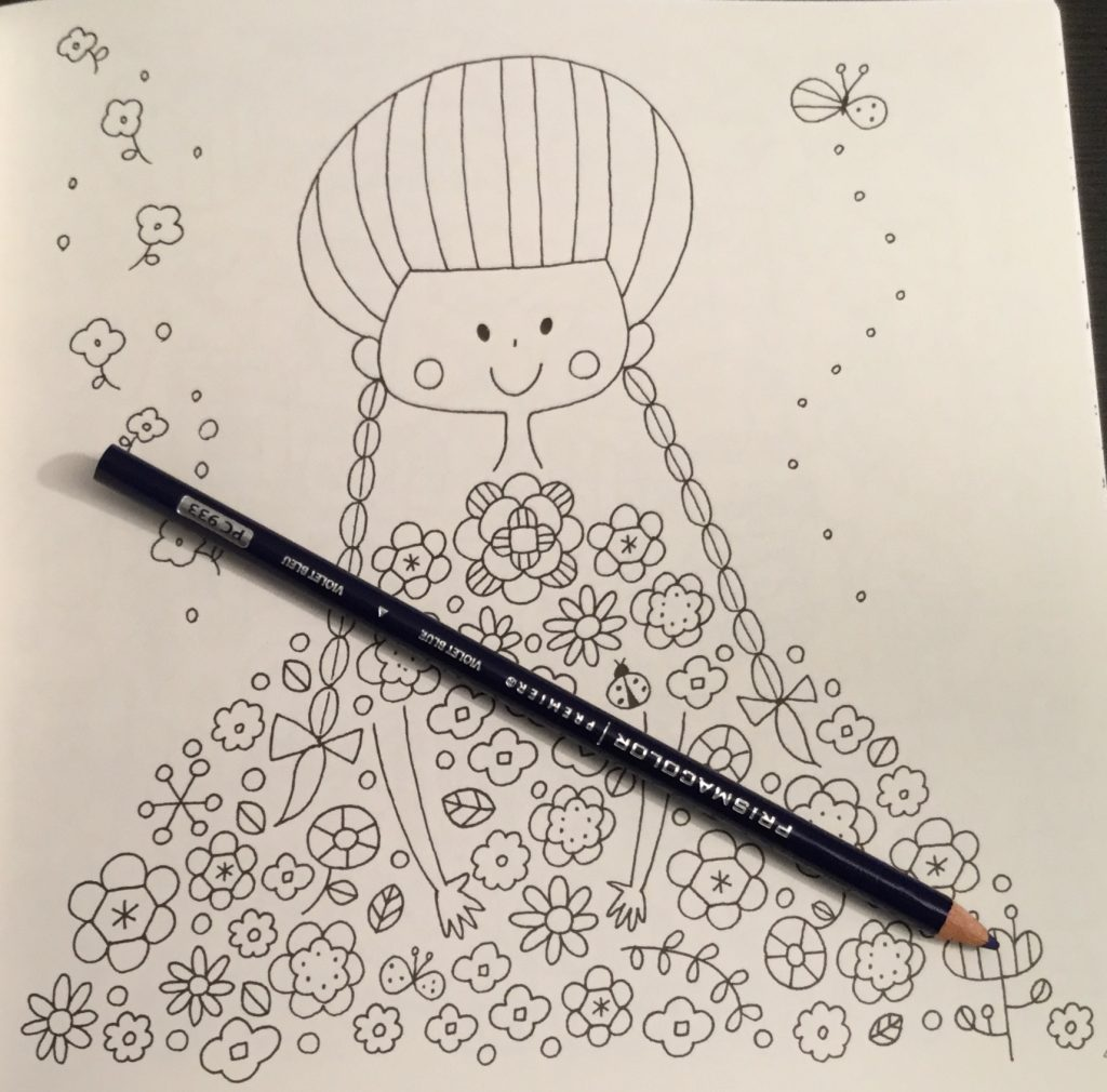 The coloring book analysis -  Girl With Dress Of Flowers In Cute Japanese Colouring Book