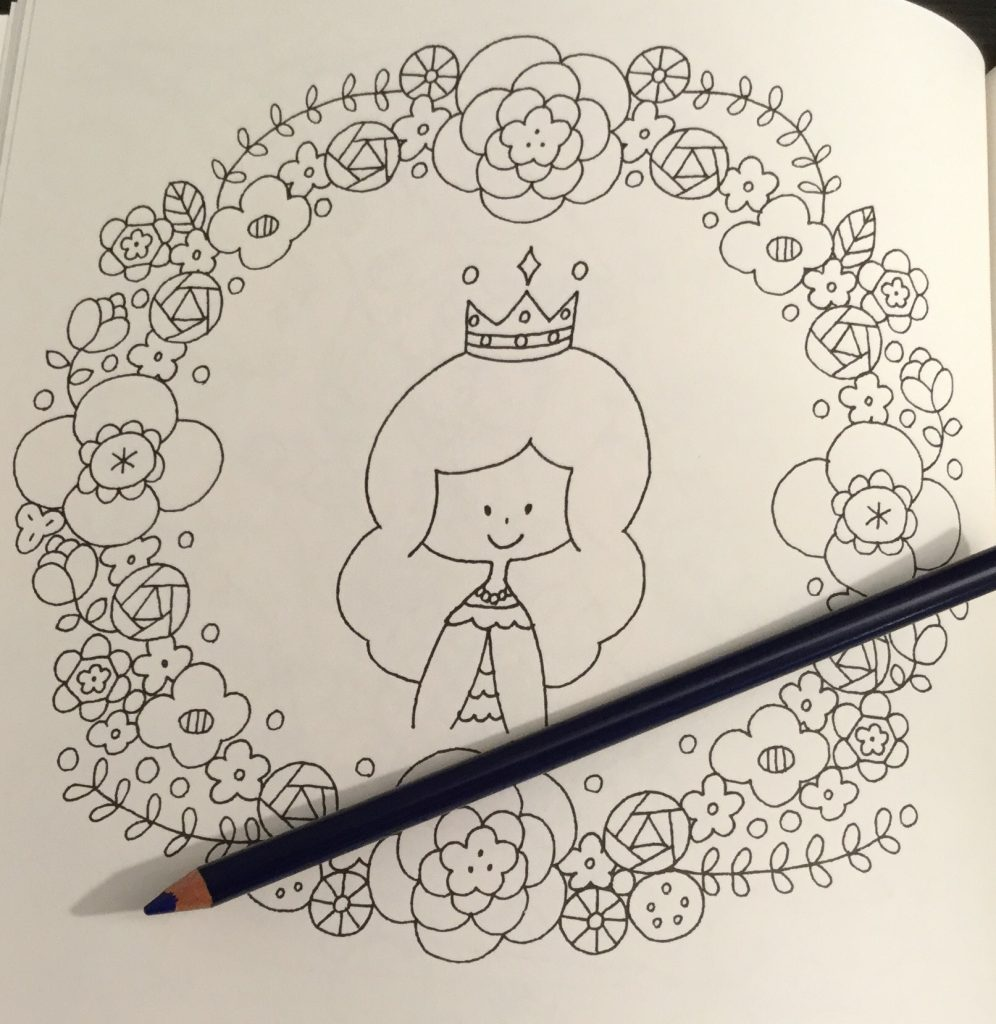 The coloring book analysis -  Queen Surrounded By Flowers In A Wreath In Easy Cute Japanese Coloring Book