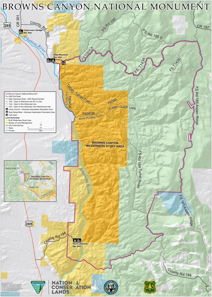 Browns Canyon Map : browns, canyon, Browns, Canyon, Bureau, Management, Colorado, Avenza